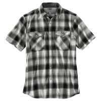 carhartt rugged flex bozeman short sleeve shirt - men's 103007-001regma, color: black, mens clothing size: medium, sleeve length: short sleeve,