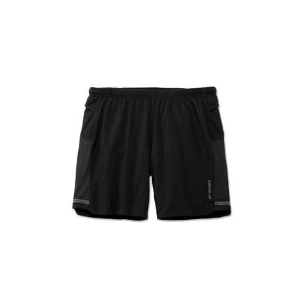 Black Brooks Sherpa 7 Inch 2 in 1 Mens Running Shorts