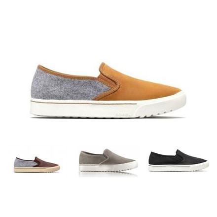SOREL Campsneak Black Leather Slip On Sneaker shoes New