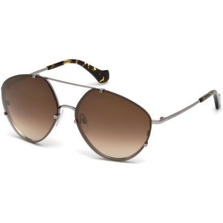 0f0b3bed5f3c Balenciaga BA0085 Sunglasses - Shiny Light Ruthenium Frame Color, Brown  Mirror Lens Color
