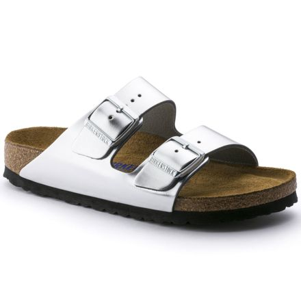 d4d487a97 Birkenstock Arizona Leather Soft Footbed Sandals - Womens, Silver, Narrow,  37, 752713