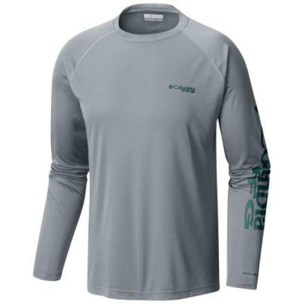 9aba8c65c44 Columbia Terminal Tackle Long Sleeve Shirt - Mens, Cool Grey/Thyme Green  Logo,