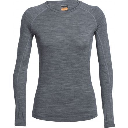 4617f5c2894 Icebreaker Zone Long Sleeve Crew - Women s-Gritstone Heather Snow-X-Small