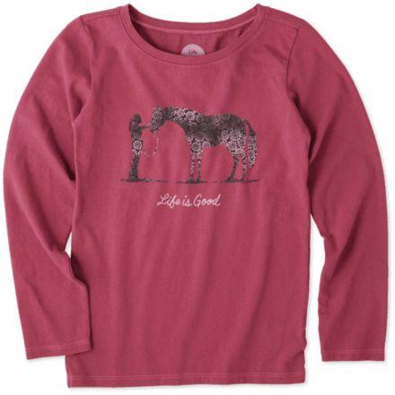 0a368e4584c357 Life Is Good Besties Horse Long Sleeve Crusher Tee, Wild Cherry, Small,  53263