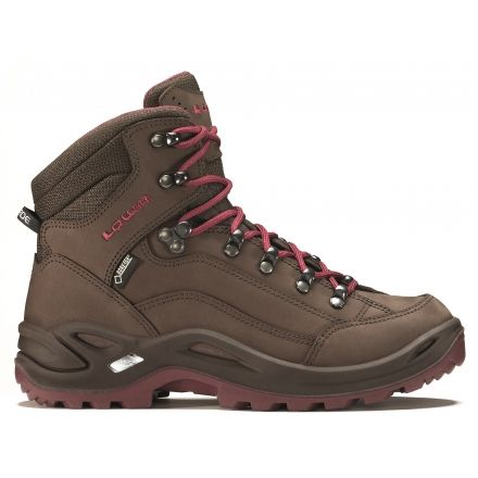 Lowa Renegade GTX Mid Hiking Boot - Women's-Espresso/Berry-Wide-7