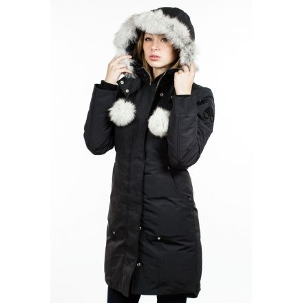 Moose Knuckles Stirling Parka Womens Blackwhite Fur X Small