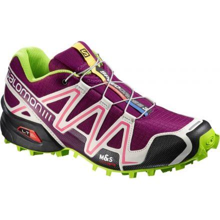 Salomon Speedcross 3 Trail Running Shoe WomensPurpleGreyGreenMedium