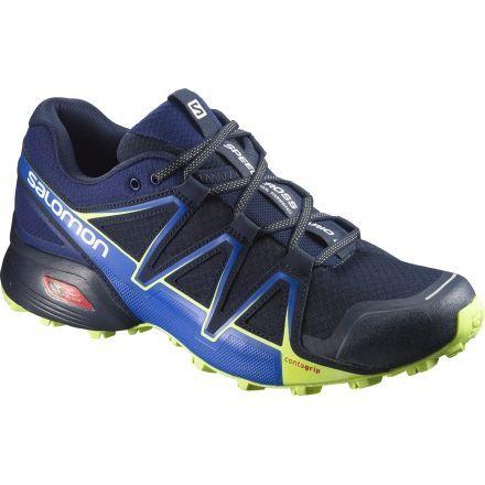 Salomon SPEEDCROSS VARIO 2 - Trail running shoes - navy blazer/nautical blue/lime punc ldQMz
