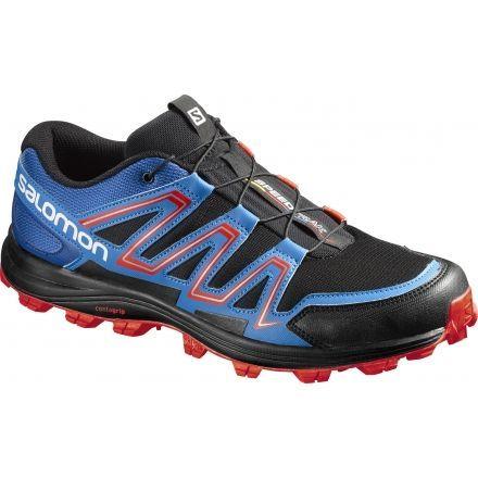 Salomon Speedtrak Trail Running Shoe - Men's-Black/Blue/Lava-Medium-
