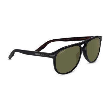 c24d983638e1 Serengeti Giacomo Sunglasses,Shiny Black/Dark Tortoise Frame,Polarized  555nm Round Lens 8468
