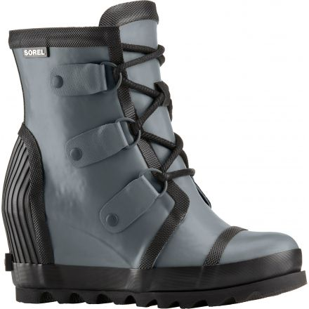 d3eeab81f34e Sorel Joan Rain Wedge Felt Rubber Boot - Women s-Graphite Black-Medium-