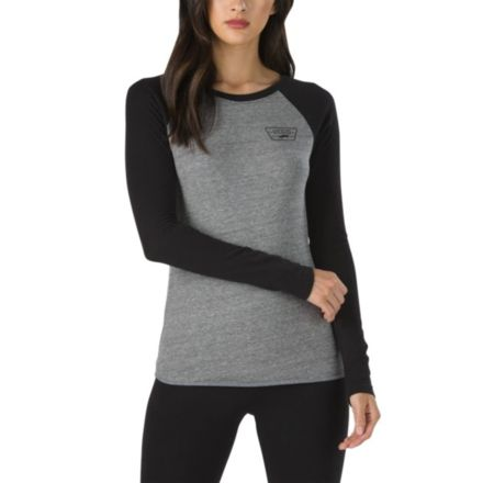 f9d0af632a85c1 Vans Full Patch Long Sleeve Raglan T-Shirt - Womens, Grey Heather-Black