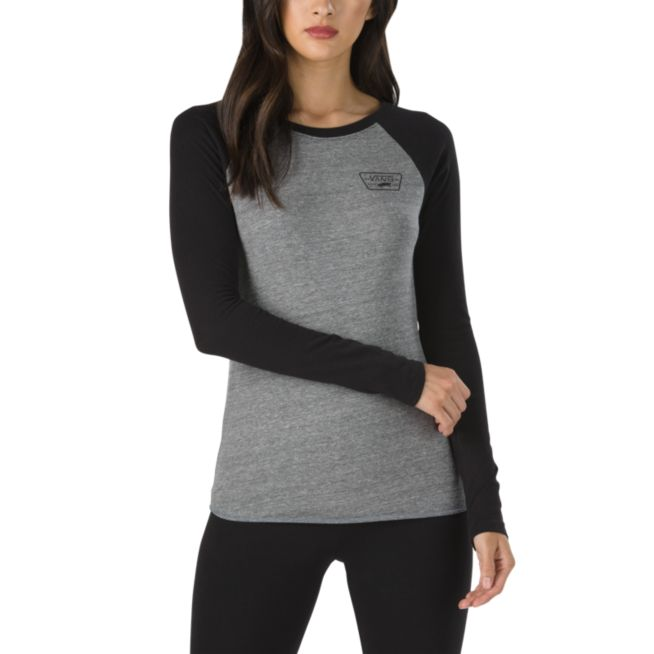 bd810a13231c38 Vans Full Patch Long Sleeve Raglan T-Shirt - Women's VN0A3T9EYR2-XSmall,  Color: Grey Heather/Black, Womens Clothing Size: Extra Small,